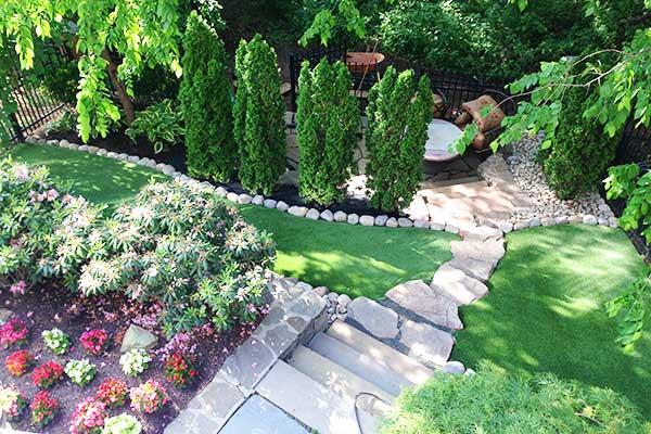 stone steps, graded back yard, lawncare